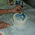 My father and I share a birthday celebration - we each get a small cake