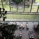 View from 5th floor to reception area including cafe