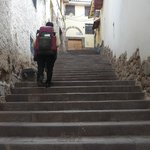Taxi dropped us off here and you have to walk up the stony steps to reach the hostel
