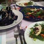 mussels and Manipuri salad