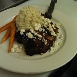 Bistro steak with caramelized onions, bacon and blue cheese