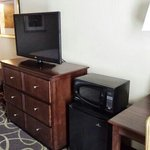TV, fridge, and microwave