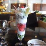 Fresh fruit and ice-cream sundae 'Delicious' !