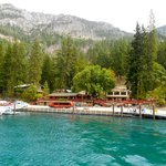 View of The Lodge at Stehekin from the ferry (yes, the water is often that color!)