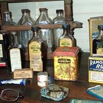 cool antiques on shelves around diningroom