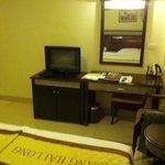 TV, desk, and mirror
