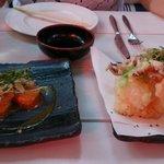 Fantastic Pork Won Ton & Tempura Squid and lime!