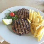Stuffed burger with french fries