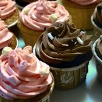 Mocha and Strawberry Butter Cream Cup Cakes