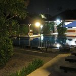 Nice lights by the pool at night