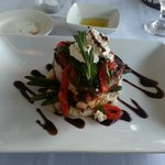 Blackened Tuna w/ roasted peppers, spinach, goat cheese, aged balsamic.