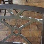 peeling paint on chairs