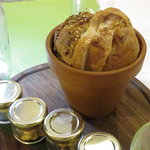 Bread - served in a clay flower pot