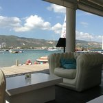 view from the inflatable sofas acros the bay
