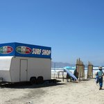Pop-up surf shop at the Cerritos Beach