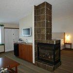 3-sided Gas fireplace/island