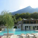 Pool area with view up to Monte Baldo