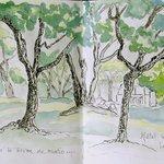 Du fond du parc, vue sur l'hôtel 'aquarelle)