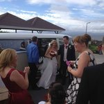 Arrival of Bride and Groom with view of coast in background
