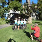 Starting our morning with a picture in front of the house before biking