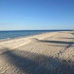 The beach just meters away