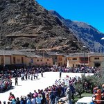 Independence Day Ceremonies in Plaza De Armas Ollantaytambo - Viewed from Coffee Tree