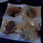 Tapas - wild game corn dog, smoked trout fritter, buttermilk fried quail, and flatbread.
