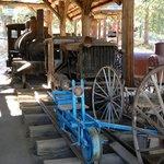 Baldwin steam locomotive and Plymouth diesel locomotive