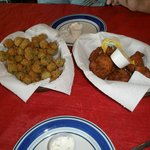Fried Okra and Hush Puppies