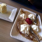 Lingonberry Crepes with Ice Cream