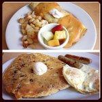 carrot cake pancake, and chorizo omelet