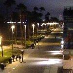 Night view of boardwalk