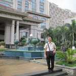 Beside the hotel's fountain area