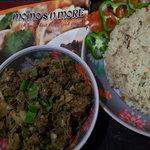Sticky rice with spicy pork salad