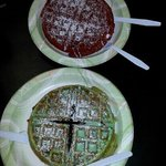mint chocolate and red velvet waffles
