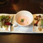 Starter: Degustation: Salad Caparese, Radish soup, Carpaccio
