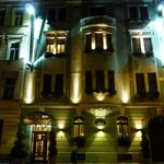Night view of ther Hotel facade