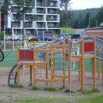 Детская площадка перед окнами отеля
