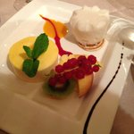 Dessert - sorbet, mousse and fruit