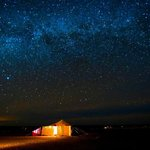 magical night in desert with milion stars