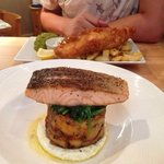 baked salmon and fish and chips! amazing!