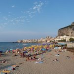 """View to Cefalu old town and """"La Roc"""""""