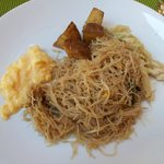 Day Three breakfast - fried noodle with scrambled eggs