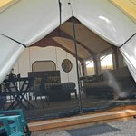 Looking into the tent cabin