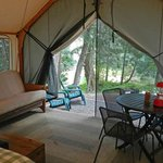 Interior of tent cabin
