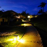 Walkway to our villa at night