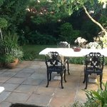 Patio at Belvedere Cottage - early morning