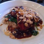 Oven Roasted Swordfish with Sauteed Spinach and Date Barbecue sauce