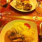salmon, dauphoinoise & chicken, mushrooms, pasta