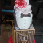 A chocolate display in the window of one of the locations.